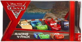 Disney / Pixar CARS 2 Movie Exclusive Die Cast Car Racing 4-Pack Jeff Gorvette, Carla Veloso, Lightning McQueen & Max Schnell