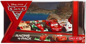 Disney / Pixar CARS 2 Movie Exclusive Die Cast Car Racing 4-Pack Miguel Camino, Francesco Bernoulli, Lightning McQueen & Shu Todoroki
