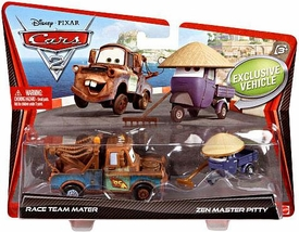 Disney / Pixar CARS 2 Movie 1:55 Die Cast Car 2-Pack Race Team Mater & Zen Master Pitty