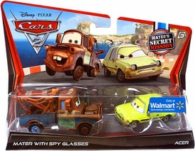 Disney / Pixar CARS 2 Movie Exclusive 1:55 Die Cast Car 2-Pack Mater with Spy Glasses & Acer [Mater's Secret Mission]
