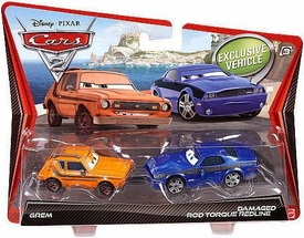 Disney / Pixar CARS 2 Movie 1:55 Die Cast Car 2-Pack Grem & Damaged Rod Torque Redline