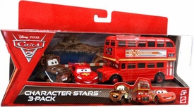 Disney / Pixar CARS 2 Movie Die Cast Car Character Stars 3-Pack Double Decker Bus, Race Team Mater & Lightning McQueen with Racing Wheels