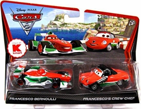 Disney / Pixar CARS 2 Movie Exclusive 1:55 Die Cast Car 2-Pack Francesco Bernoulli & Francesco's Crew Chief