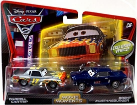 Disney / Pixar CARS 2 Movie Moments 1:55 Die Cast Car 2-Pack Darrell Cartrip & Brent Mustangburger