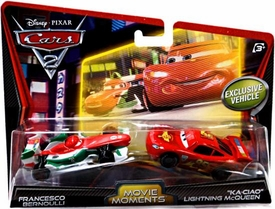 Disney / Pixar CARS 2 Movie Moments 1:55 Die Cast Car 2-Pack Francesco Bernoulli & Ka-Ciao Lightning McQueen