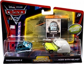 Disney / Pixar CARS 2 Movie Moments 1:55 Die Cast Car 2-Pack Professor Z & Acer With Helmet