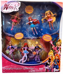 Winx Club Exclusive Transformation 3.75 Inch Figure 6-Pack 2x Bloom, 2x Flora & 2x Stella