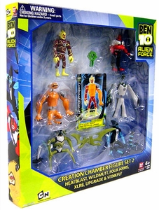 Ben 10 Exclusive Alien Creation Chamber Figure Set 2 [Heatblast, Wildmutt, Four Arms, XLR8, Upgrade & Stinky]