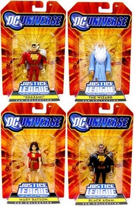 DC Universe Justice League Unlimited Exclusive Shazam! Family Set of 4 Action Figures [Shazam, Mary Batson, Black Adam & The Wizard]