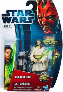 Star Wars 2012 Saga Movie Heroes Action Figure #10 Qui-Gon Jinn {Version 1} [Grappling Hook Launcher]