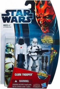 Star Wars 2012 Saga Movie Heroes Action Figure #11 Clone Trooper [Backpack Fires Missile!]