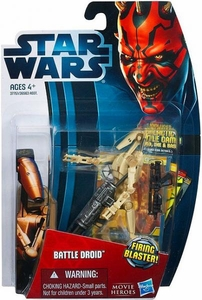 Star Wars 2012 Saga Movie Heroes Action Figure #4 Battle Droid [Firing Blaster] {RANDOM COLOR - Could be Red or Beige!}