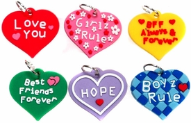 D.I.Y. Do it Yourself Bracelet Zupa Loom Bandz Bracelet Charm Multi Color Hearts 6-Pack [With Sayings!]