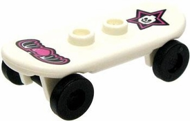 LEGO City LOOSE Accessory White Skateboard with Star & Winged Heart Decals