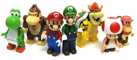 Super Mario Wii K'NEX Set of 7 LOOSE Mini Figures [Mario, Luigi, Bowser, Toad, Yoshi, Donkey Kong & Diddy Kong]