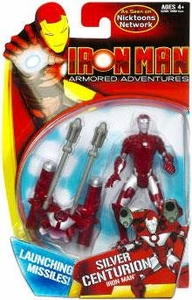 Iron Man Armored Adventures Animated 4 Inch Action Figure Silver Centurion Iron Man [Launching Missiles!]
