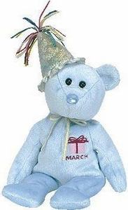 Ty Beanie Baby March the New Version Birthday Bear