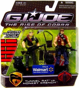 GI Joe Movie The Rise of Cobra 3 3/4 Inch Exclusive Action Figure 2-Pack Tunnel Rat vs. Monkey Wrench
