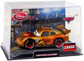 Disney / Pixar CARS 2 Movie Exclusive 1:43 Die Cast Car In Plastic Case Golden Lightning McQueen