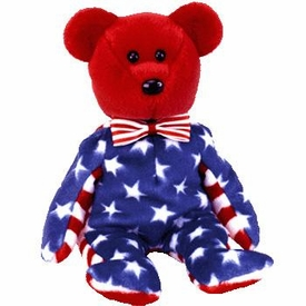 Ty Beanie Baby Exclusive Liberty the USA Red Face Bear
