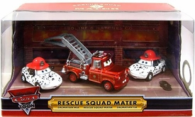 Disney / Pixar CARS Movie 2009 SDCC San Diego Comic-Con Exclusive 1:55 Die Cast Car 3-Pack Mater's Rescue Squad in Light Up Package [Ransburg Firetruck Mater {Metallic}, Dalmation Mia & Tia]