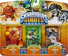 Skylanders GIANTS Figure 3-Pack Eruptor, Stealth Elf & Terrafin BLOWOUT SALE!