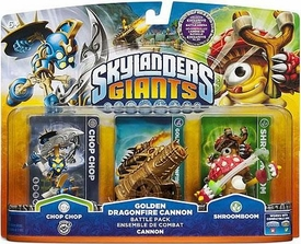 Skylanders Giants Exclusive Battle Pack GOLDEN Dragonfire Cannon [Chop Chop, Gold Cannon & Shroomboom]
