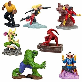 Disney Marvel Universe Exclusive 7-Piece PVC Figurine Playset  [Hulk, Daredevil, Spider-Woman, Dr. Strange, Ms. Marvel, Luke Cage & Iron Fist]