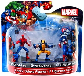 Marvel Monogram 4 Inch Deluxe Figure 3-Pack Spider-Man, Wolverine & Captain America