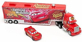 Disney / Pixar CARS Movie Playset EXCLUSIVE Mack Truck with Runaway Racer PVC Figure McQueen