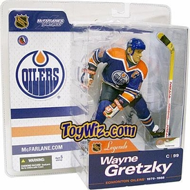 McFarlane Toys NHL Sports Picks Legends Series 1 Action Figure Wayne Gretzky (Edmonton Oilers) Blue Jersey Damaged Package