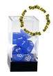 "Dice Gaming Supplies 7 Piece ""Frosted"" Blue w/ White Polyhedral Dice Set"