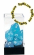 "Dice Gaming Supplies 7 Piece ""Frosted"" Caribbean Blue w/ White Polyhedral Dice Set"
