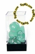 "Dice Gaming Supplies 7 Piece ""Frosted"" Teal w/ White Polyhedral Dice Set"