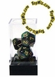 "Dice Gaming Supplies 7 Piece ""Scarab"" Jade w/ Gold Polyhedral Dice Set"