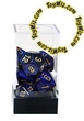 "Dice Gaming Supplies 7 Piece ""Scarab"" Royal Blue w/ Gold Polyhedral Dice Set"