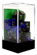 "Dice Gaming Supplies 7 Piece ""Gemini"" Blue-Green w/ Gold Polyhedral Dice Set"