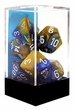 "Dice Gaming Supplies 7 Piece ""Gemini"" Blue-Gold w/ White Polyhedral Dice Set"