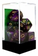 "Dice Gaming Supplies 7 Piece ""Gemini"" Green-Purple w/ Gold Polyhedral Dice Set"