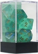"Dice Gaming Supplies 7 Piece ""Borealis"" Light Green w/ Gold Polyhedral Dice Set"