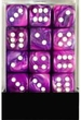 Dice Gaming Supplies 36 Count 12mm 6-Sided d6 Dice Pack Festive [Violet/White 27857]