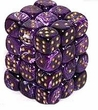 Dice Gaming Supplies 36 Count 12mm 6-Sided d6 Dice Pack Vortex [Purple/Gold 27837]