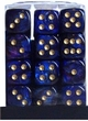 Dice Gaming Supplies 36 Count 12mm 6-Sided d6 Dice Pack Scarab [Royal Blue/Gold 27827]