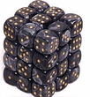 Dice Gaming Supplies 36 Count 12mm 6-Sided d6 Dice Pack Lustrous [Black/Gold 27898]