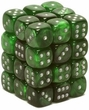 Dice Gaming Supplies 36 Count 12mm 6-Sided d6 Dice Pack Velvet [Green/Silver 27875]