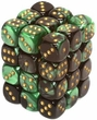 Dice Gaming Supplies 36 Count 12mm 6-Sided d6 Dice Pack Gemini [Green/Gold 26839]