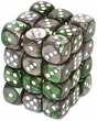 Dice Gaming Supplies 36 Count 12mm 6-Sided d6 Dice Pack Gemini [Green-Steel/White 26841]