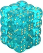 Dice Gaming Supplies 36 Count 12mm 6-Sided d6 Dice Pack Borealis [Teal/Gold 27886]