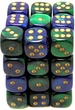 Dice Gaming Supplies 36 Count 12mm 6-Sided d6 Dice Pack Gemini [Blue-Green/Gold  26836]