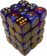 Dice Gaming Supplies 36 Count 12mm 6-Sided d6 Dice Pack Gemini [Blue-Magenta/Gold 26847]